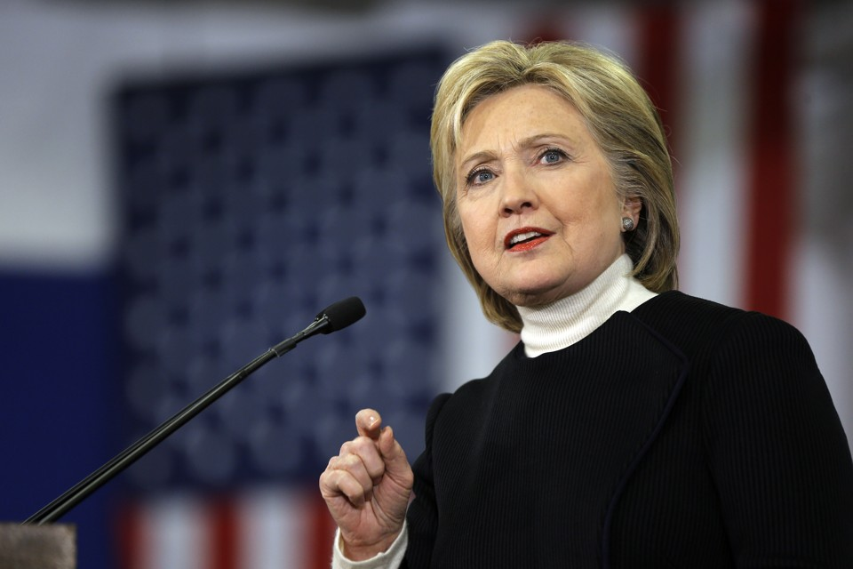 Democratic presidential candidate Hillary Clinton speaks at her first-in-the-nation presidential primary campaign rally, Tuesday, Feb. 9, 2016, in Hooksett, N.H. (AP Photo/Matt Rourke)